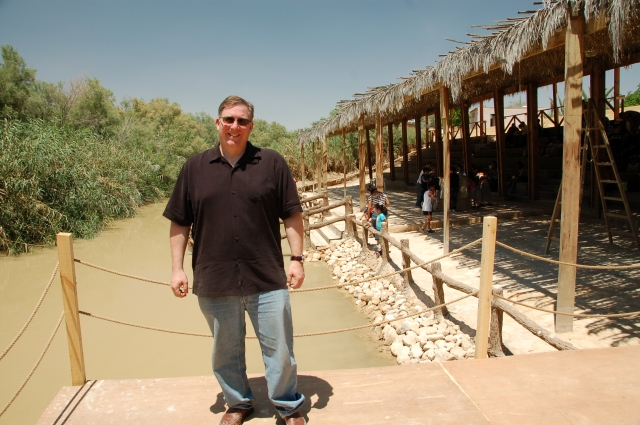 Standing on the East Bank of the Jordan River. On the right side of this picture is the Hashemite Kingdom of Jordan. On the left is the State of Israel. Amazing how close they are.